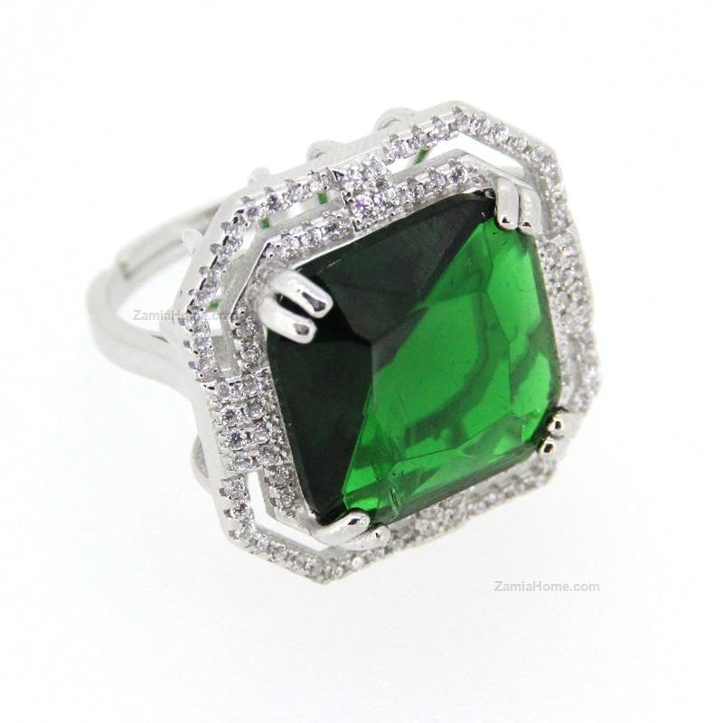 Ben noto Anello con pietra quadrata any-g pietra verde anello argento 925  IH49