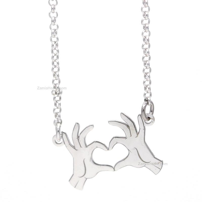 Heart hands necklace