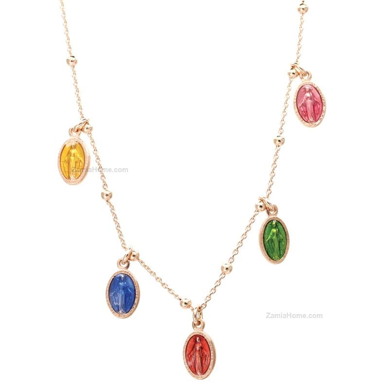 Necklace with colored charms