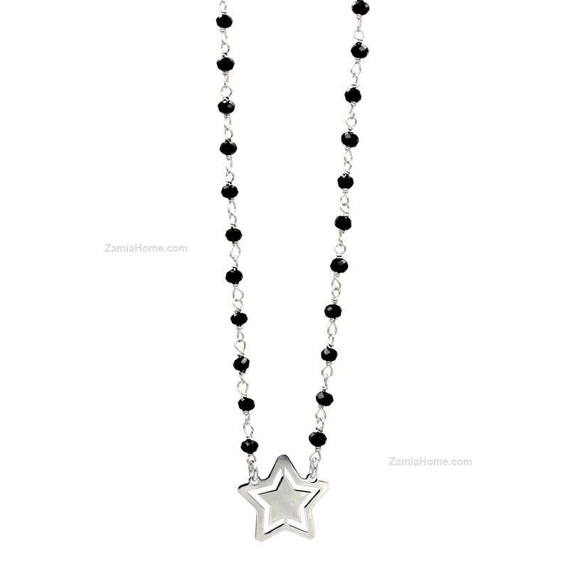 Necklace with black cz