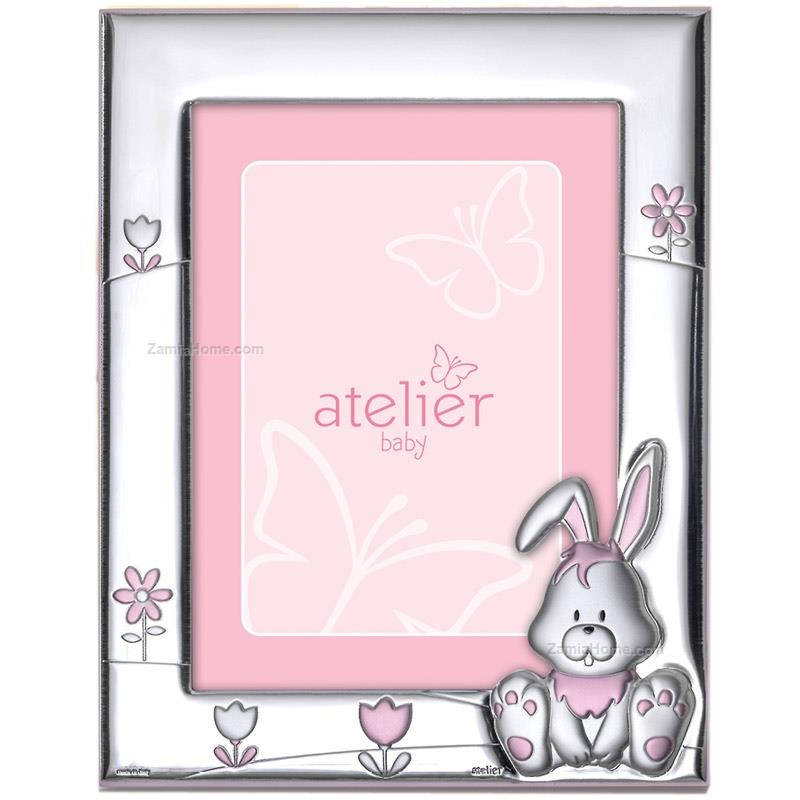 Portafoto coniglietto atelier cm 9x13 - rosa portafoto bimbo argento ...