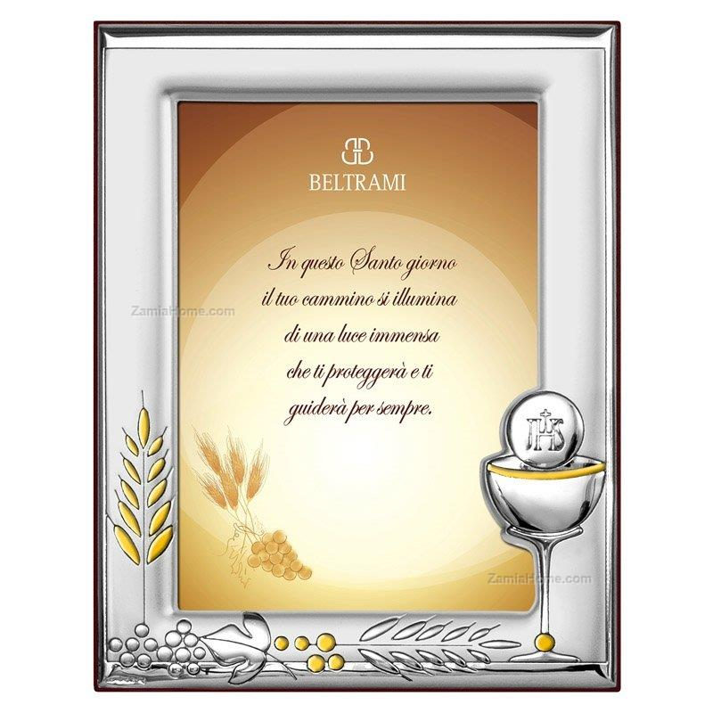 Communion Picture Frame Beltrami Cm 6x9 Silver Plate Wooden Back