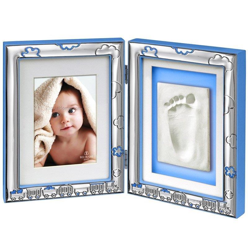 Double Frame With Footprint Beltrami Cm 325x21 Light Blue Double