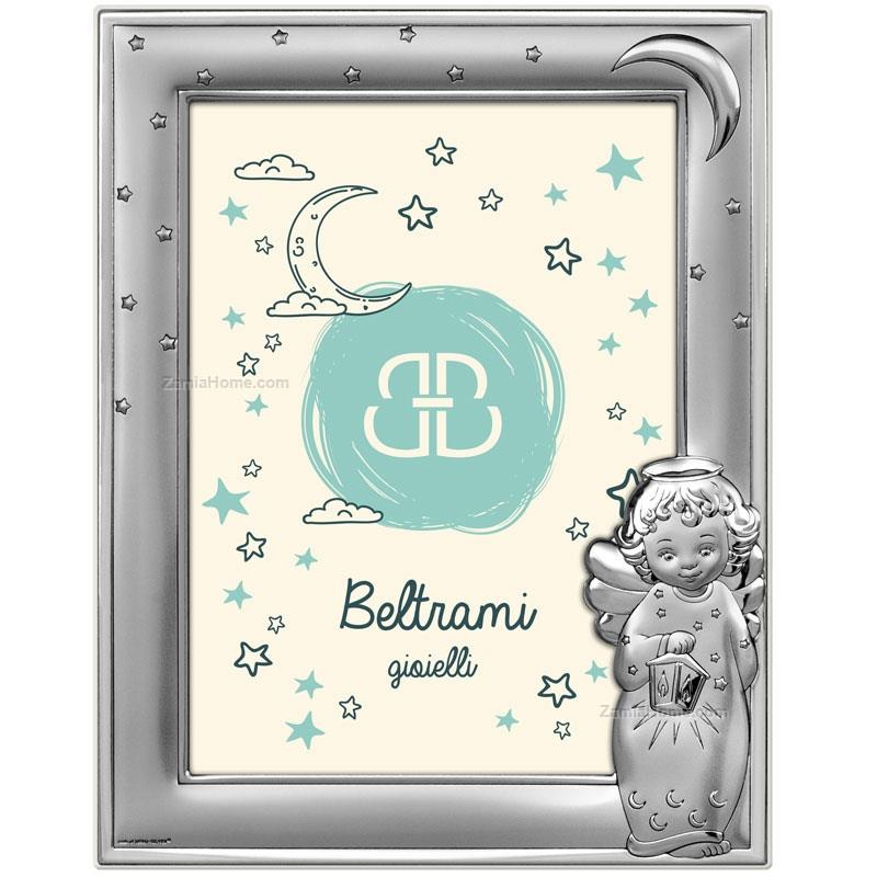 Photoframe angel with lantern beltrami cm 6x9 silver plate white ...