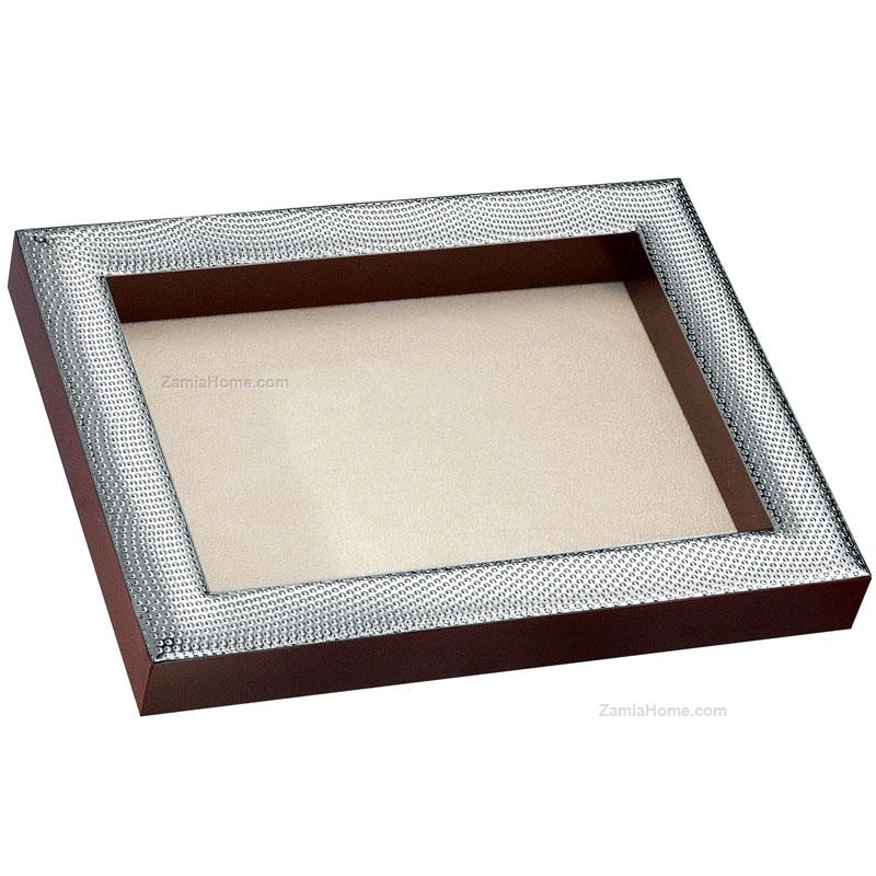 Coin tray optical beltrami cm 13x17 h 25 wood and silver plate ...