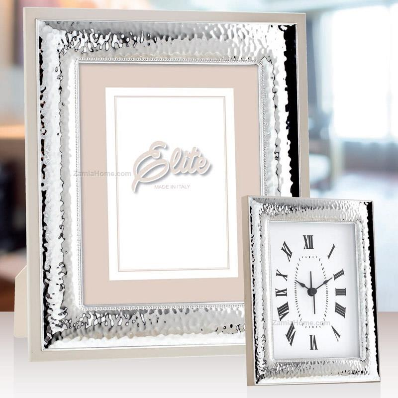 Hammered Picture Frame First Class Cm 9x13 Silver Plate Wood Back