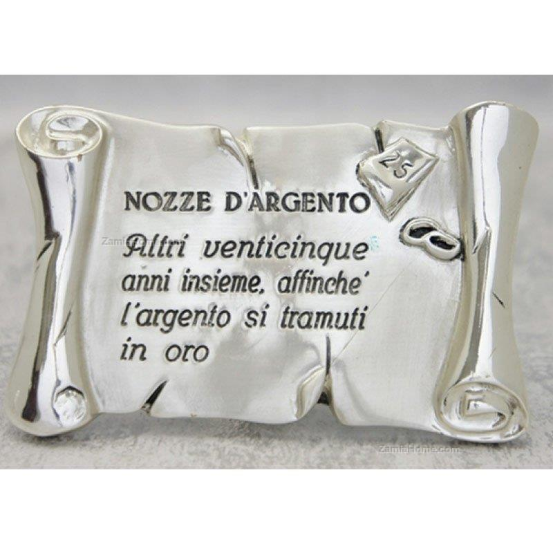 Anniversario Matrimonio Argento.Pergamena Italian Gift Cm 11x7 Nozze D Argento Resina Argentata
