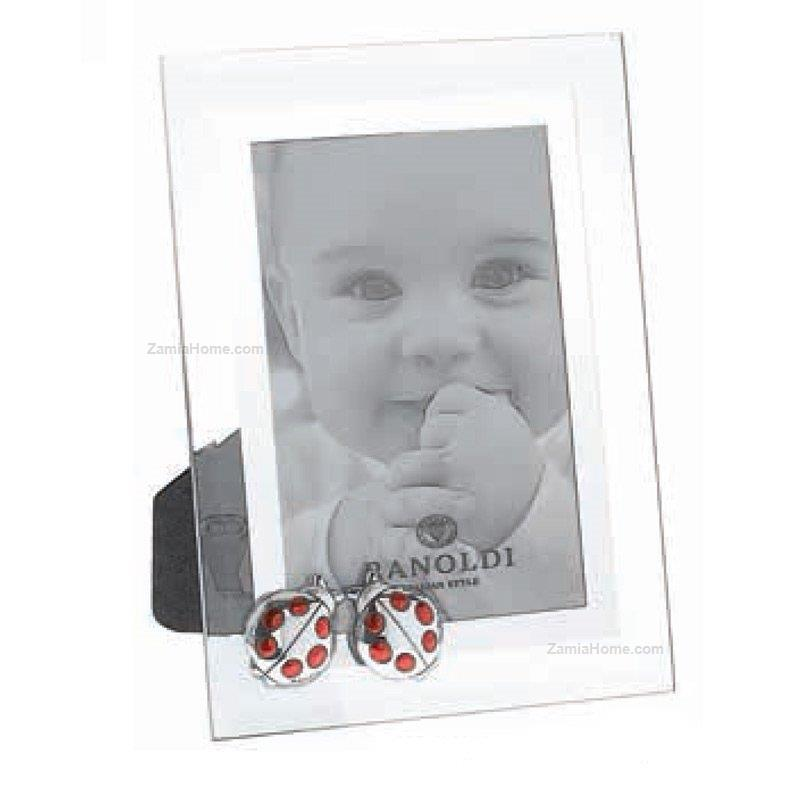 Crystal picture frame ranoldi cm 10x15 with silver plate ladybugs ...