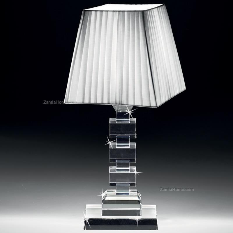 Lampada In Cristallo Ranoldi Cm 20x20 H 40 Lampada Da Tavolo Rac5321 Cristalleria Lampade