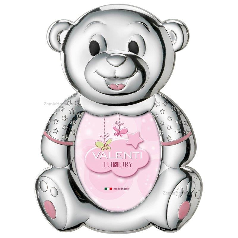 Teddy bear frame valenti & co. cm 9x13 - pink shaped baby picture ...