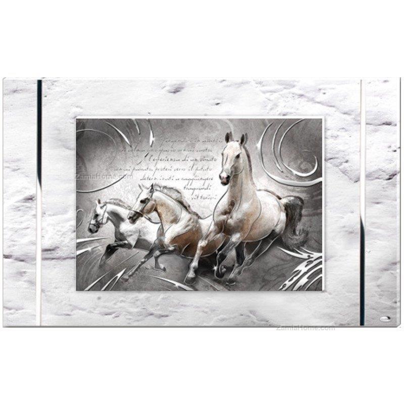Pannello cavalli in corsa valenti & co. cm 80x50 - argento pannello ...